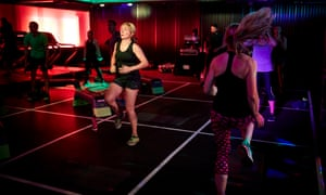 Working out under the disco lights.