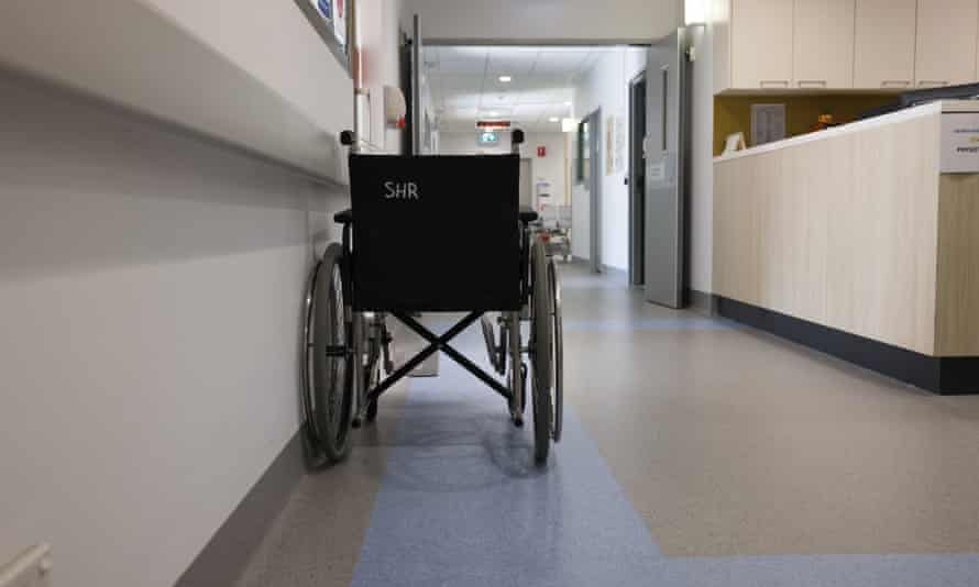 A wheelchair at St Vincent's hospital in Sydney, Australia