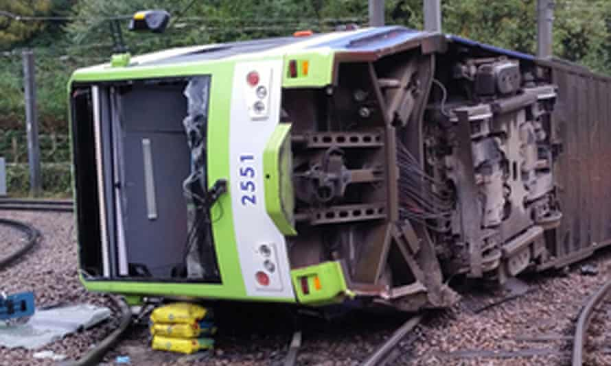 The tram that derailed near the Sandilands stop in Croydon.