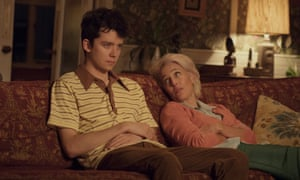 Asa Butterfield and Gillian Anderson in Sex Education, produced by Netflix in the UK.