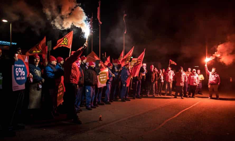 Nightshift employees of Kirchhoff Automotive take part in a strike in Iserlohn