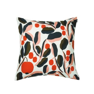 Cushion  with Jaspi pattern in white, red and blue