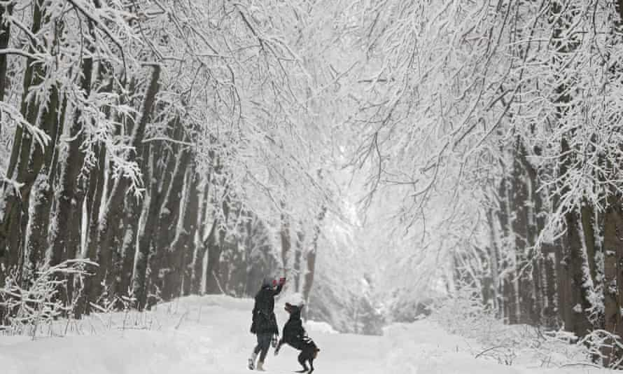 A woman plays with her dog in a park in Moscow, Russia, February 2019.