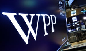 WPP logo above a trading post on the floor of the New York Stock Exchange