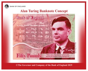 A Bank of England mock-up of the new £50 note featuring Alan Turing