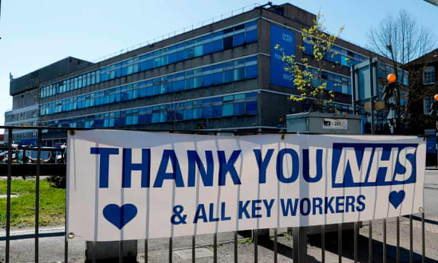 A message of thanks outside Watford General hospital.