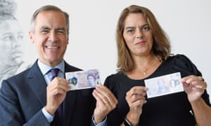 The artist Tracey Emin and the Bank of England, Mark Carney, show the new £20 note featuring JMW Turner.