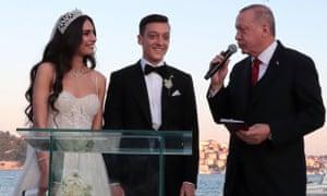 President Erdoğan makes a speech at Mesut Ozil's wedding to former Miss Turkey Amine Gülșe in June.
