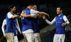 Sheffield Wednesday's Atdhe Nuhiu celebrates scoring the second goal.