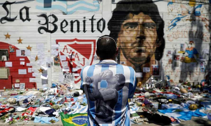 A memorial to Diego Maradona in Buenos Aires, Argentina, November 2020
