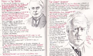 One of Charles Front's FutureLearn Notebooks, complete with illustrations of major political figures from the period