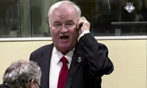 Ratko Mladic reacts as he is jailed for life at the international criminal tribunal for the former Yugoslavia.