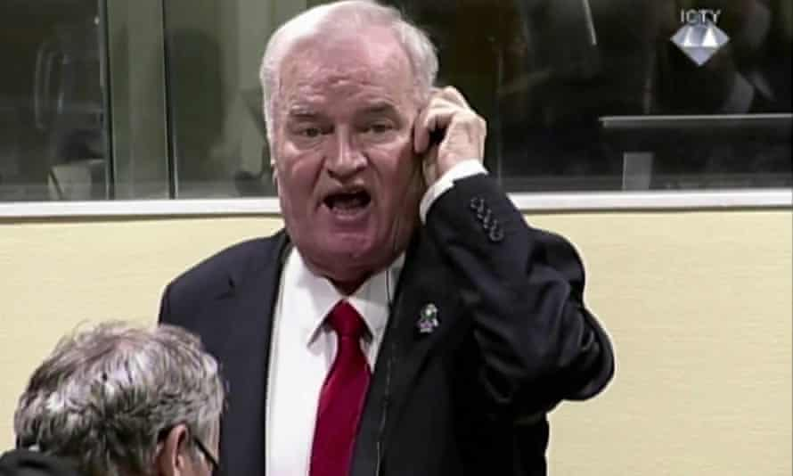 A video image of Ratko Mladic reacting during his trial before being dragged out of the courtroom in The Hague in November.