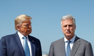 Robert O'Brien with Trump in LA last year. O'Brien said: 'If the Biden-Harris ticket is determined to be the winner – and obviously things look that way now – we'll have a professional transition.'