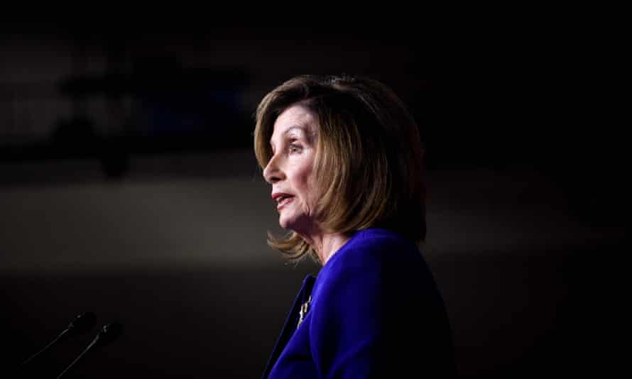 US Speaker of the House Nancy Pelosi, Democrat of California, speaks during her weekly press briefing on Capitol Hill. Impeachment 'managers' will prosecute the case against Trump in the Senate.