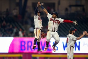 Atlanta, Georgia, USA Atlanta Braves second baseman Ozzie Albies and center fielder Ronald Acuna Jr. celebrate after defeating the New York Mets at SunTrust Park