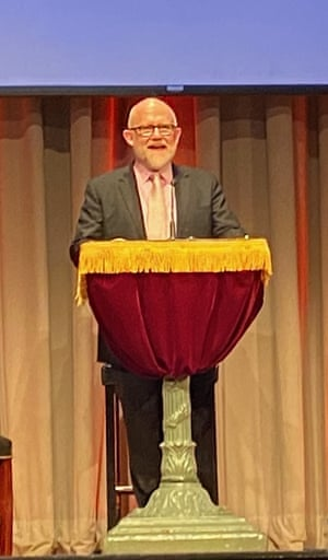 Rick Wilson speaks from the Lincoln lectern.