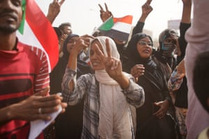 Celebrations outside the Sudanese army headquarters in Khartoum