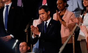 Juan Guaidó acknowledges applause during Donald Trump's State of the Union address on Tuesday.