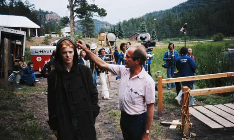 Nicolas Roeg and David Bowie on the set of The Man Who Fell to Earth in 1975.
