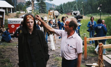 Nicolas Roeg with David Bowie on the set of The Man Who Fell to Earth in 1975.