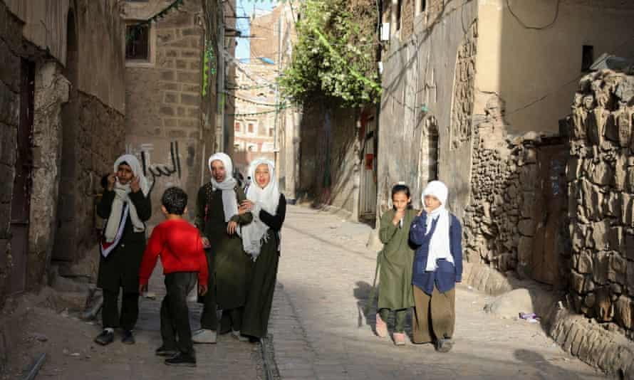 Children in the old quarter of Sana'a, Yemen, March 2021