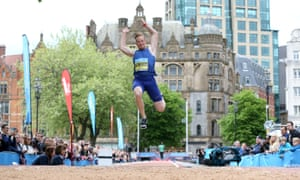 Great Britain's Greg Rutherford leaps his way to victory in the GreatCity Games in Manchester.
