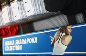 Maria Sharapova's Nike products are seen for sale in the merchandise store during day four of the BNP Paribas Open at Indian Wells