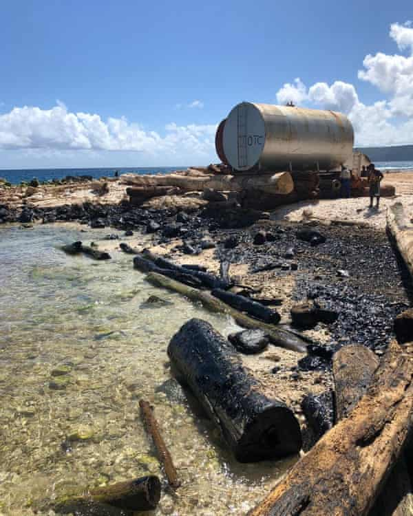 Oil washed onto shore from the Solomon Trader spill.