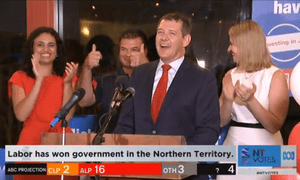 Labor leader Michael Gunner claims victory in the Northern Territory election