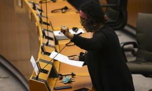 Herzberger-Fofana at the European parliament in Brussels