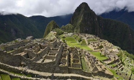 View of the Machu Picchu complex, the Inca fortress enclaved in the south eastern Andes of Peru