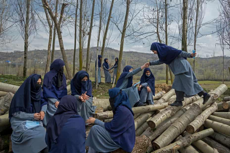 A group of 11 friends take a break outside their school in Baramulla district. The girls have been friends since their kindergarten. Since August 5, 2019 when the schools closed because of a military lockdown, they could not see one another for nearly 18 months, first due to a military siege and then the COVID-19 lockdown. Meeting after nearly one and a half years has been an experience of a lifetime