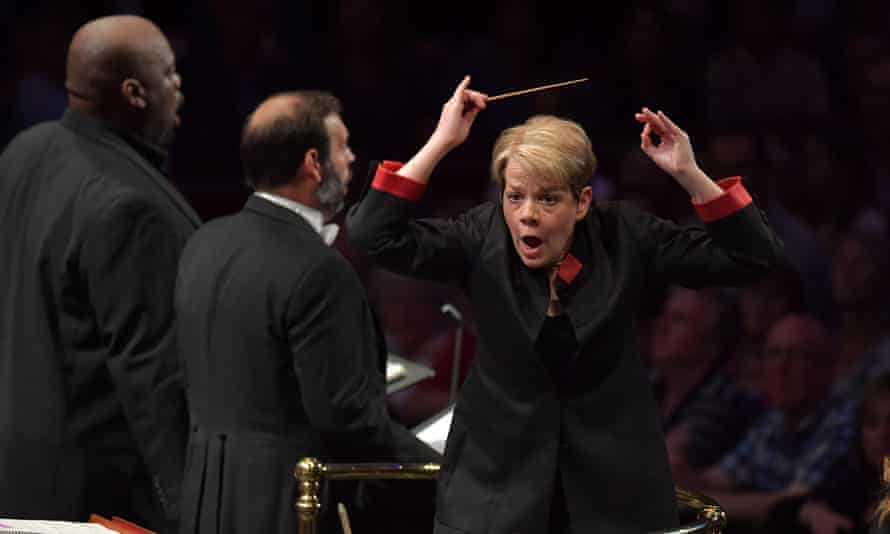Marin Alsop with Morris Robinson (left) and Dimitri Pittas (centre) conducts the Orchestra of the Age of Enlightenment and the BBC Proms Youth Choir in a performance of Verdi's Requiem.