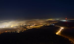 Stuttgart, seen from the TV tower at night, with fog, Baden-Wuerttemberg
