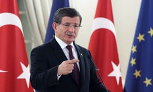 Turkey's prime minister, Ahmet Davutoğlu, following a meeting with the EU Council president at the Cankaya Palace in Ankara.