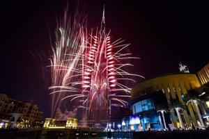 Fireworks illuminate Dubai's Burj Khalifa, the tallest building in the world