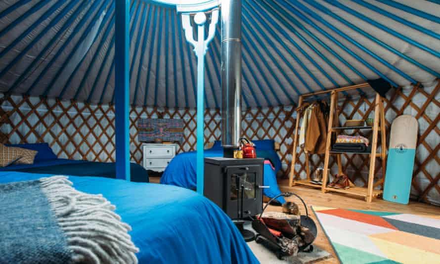 Yurt interior at Fir Hill Estate, Cornwall