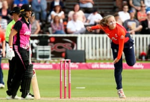 Sophie Ecclestone bowls during England's T20 tri-series against New Zealand in June.