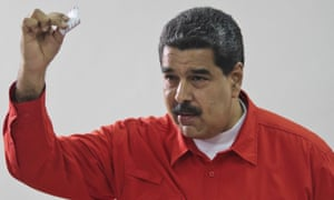 Venezuelan president Nicolás Maduro casts hits vote for the new constitutional assembly