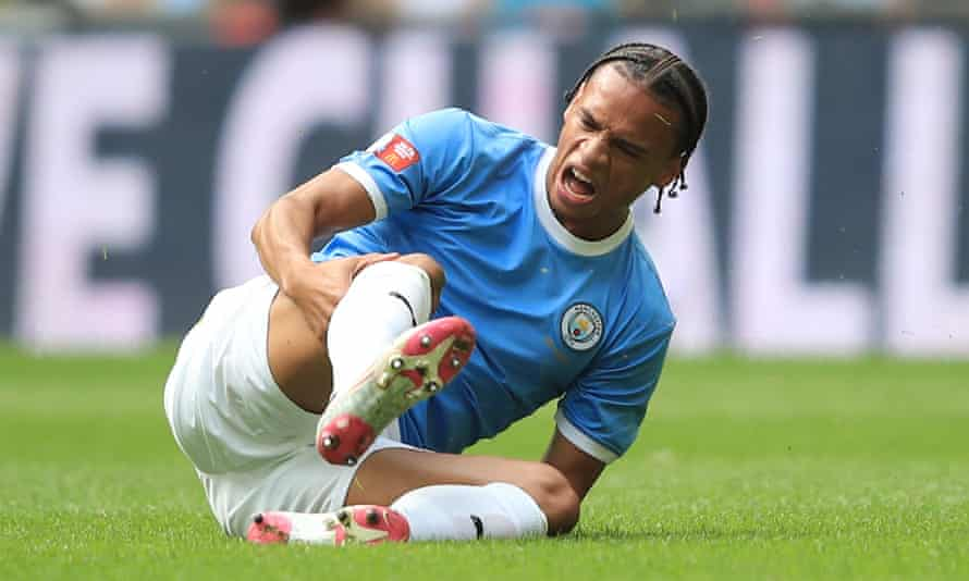 Leroy Sané goes down with what turned out to be an anterior cruciate ligament injury during Manchester City's Community Shield victory over Liverpool at Wembley.