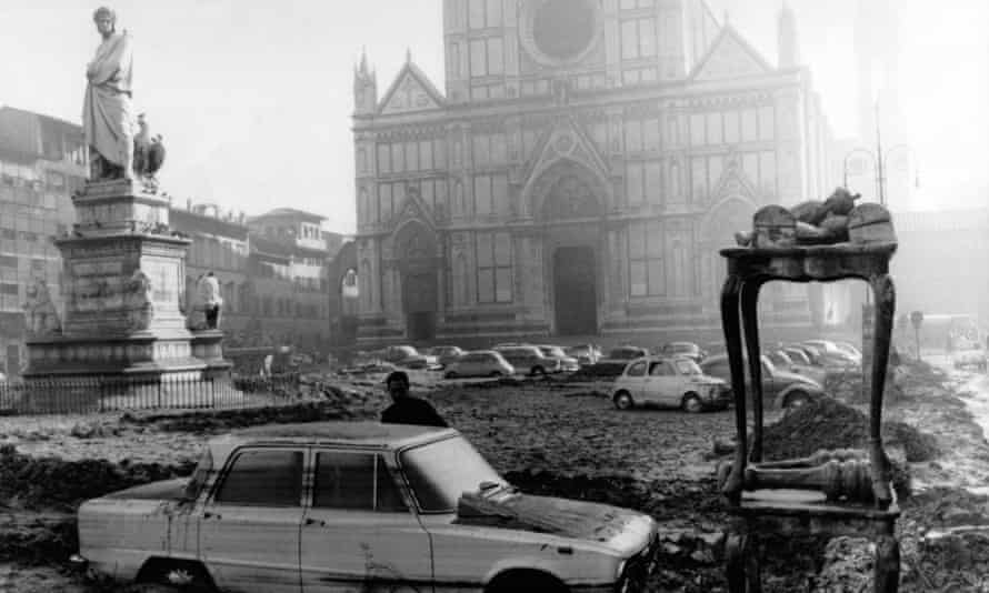 The basilica of Santa Croce after the 1966 Florence flood.