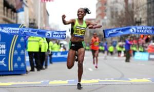Caroline Rotich of Kenya wins the 2015 Boston Marathon.