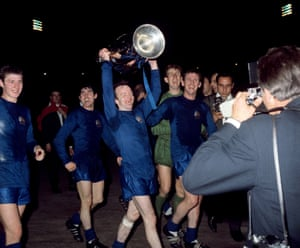 Stiles lifts the European Cup after Manchester United beat Benfica in the final at Wembley on 29 May 1968