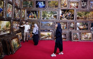 People visit the Handmade Carpet exhibition in Tehran, Iran
