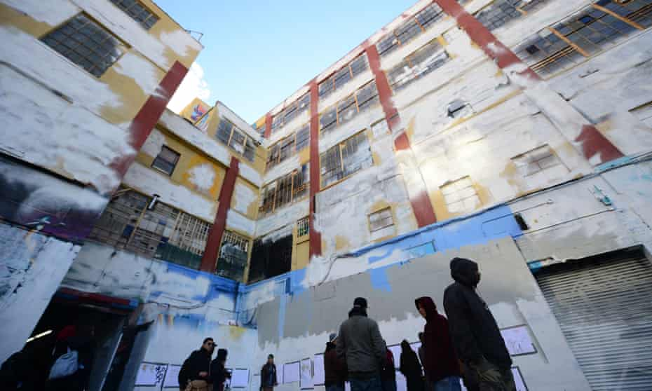 The building after it was painted over. A jury has decided that the artists' work was legally protected under the Visual Artists Rights Act.