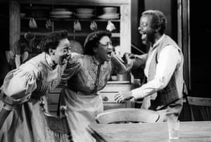 Yvonne French, Dona Croll and Joseph Marcell in Claude Purdy's production of Joe Turner's Come and Gone by August Wilson at the Tricycle theatre, 1990.