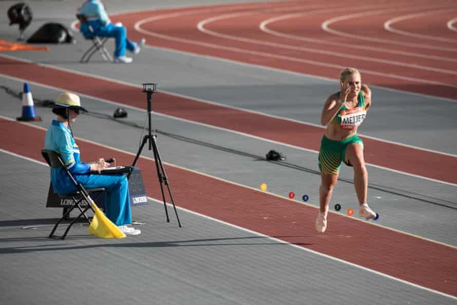 Juanelie Meijer in the women's T38 long jump finals