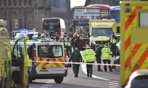 Police at the scene of the attack in Westminster.