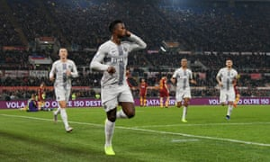 Keita Baldé silences the crowd but not the Roma protests after volleying Internazionale ahead moments after the host were denied an obvious penalty.